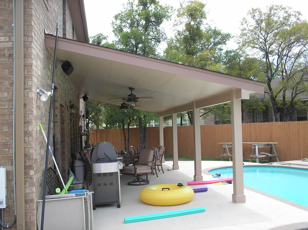 Lean 2 Level P Curve By Pool, Hip Style Wooden Patio Cover Match House,  Laquered Wooden Patio Cover Extension
